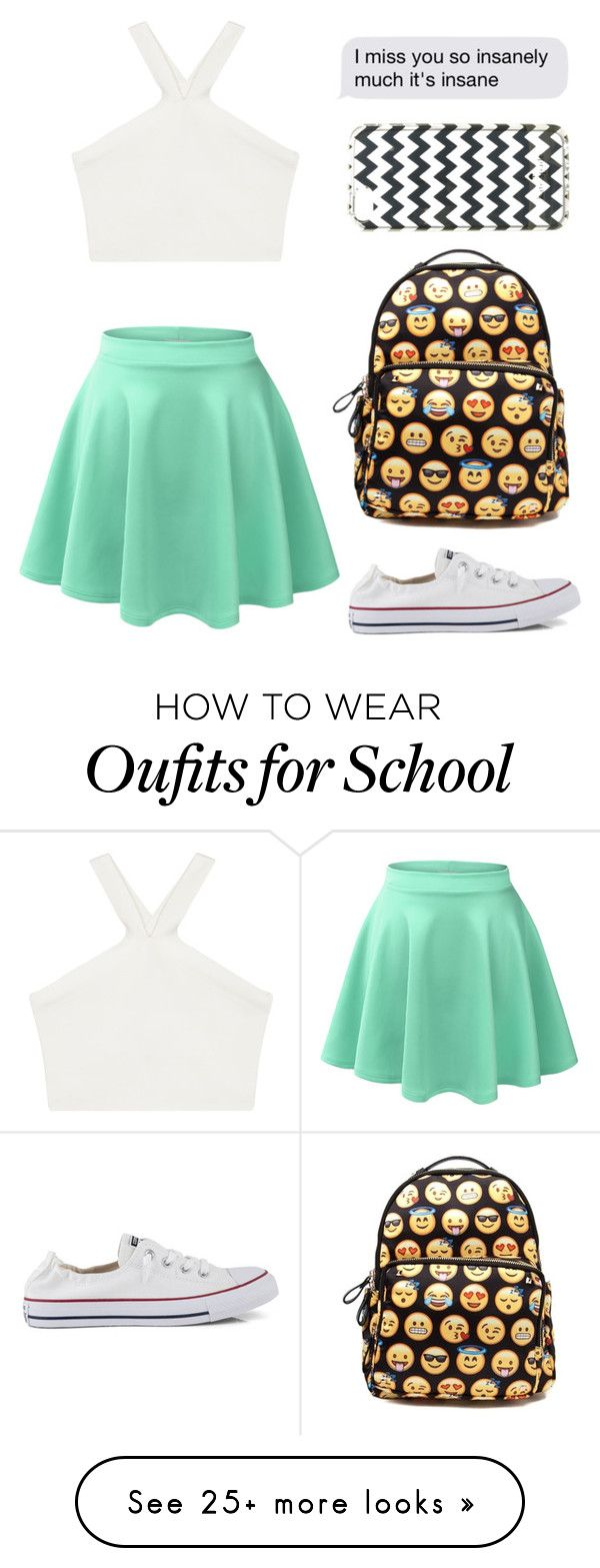 """""""Back2school"""" by misslinneamaddux on Polyvore featuring LE3NO, BCBGMAXAZRIA, Converse and Kate Spade"""