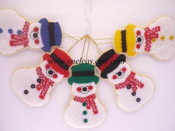 Рождественские украшения почувствовал, Снеговик - старинные украшения - один орнамент
