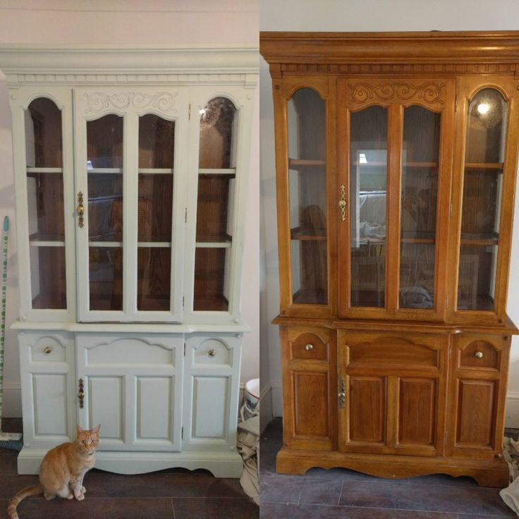 Before and after chalk painting glass cabinet