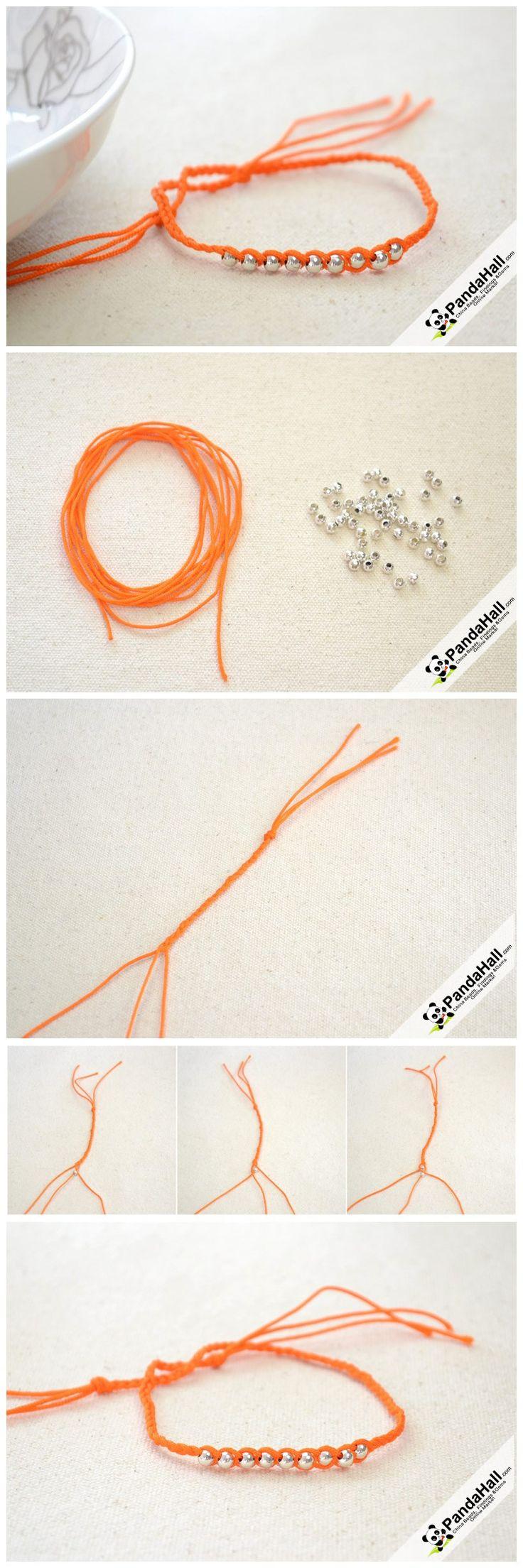 Easy to Make Friendship Bracelet - How to Make String Bracelets Step by Step from pandahall.com