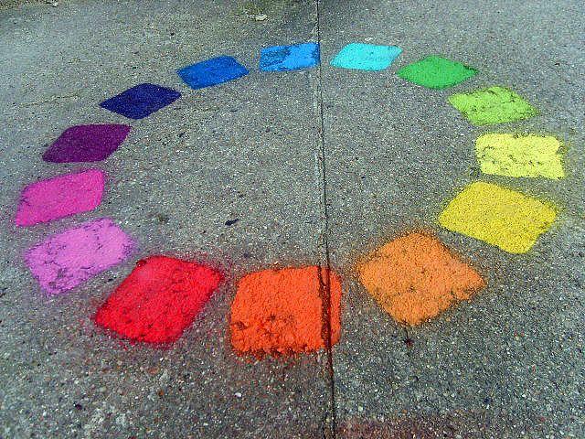 rainbow street art by romainRainbows Colors, Street Art, Rainbows Cake, Amazing Colors, Sidewalk Chalk, Colors Wheels, Rainbows Chalk, Birds Of Paradise, Streetart