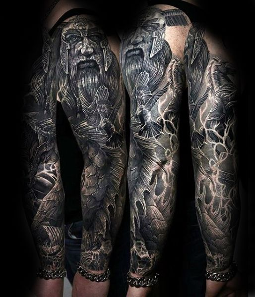 Amazing Odin Full Sleeve Tattoo Design On Gentleman