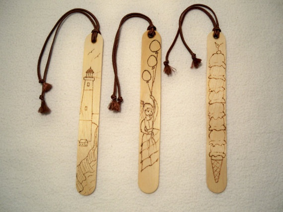 Book Markers - Set of 3 - Wood Burned - Lighthouse, Girl With Balloons, Ice Cream Cone. $10.00, via Etsy.