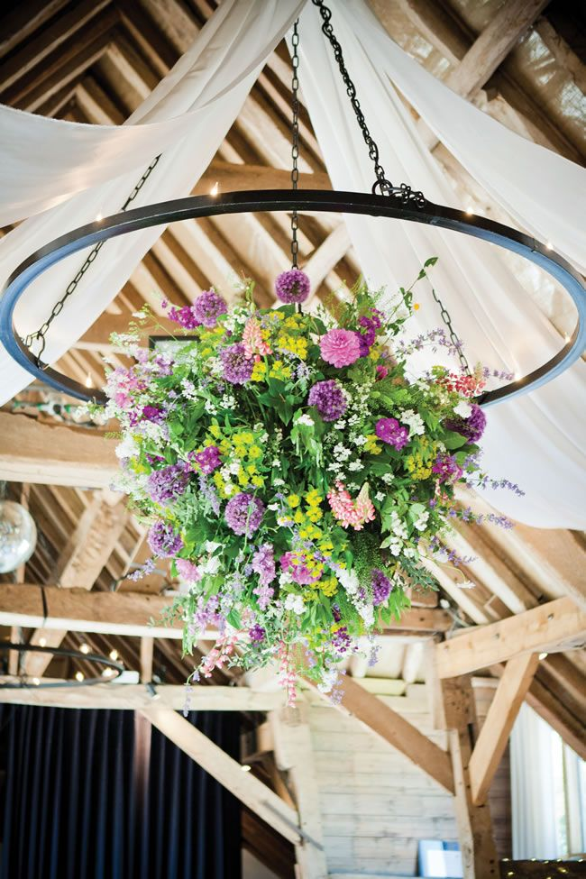 Ceiling Floral from weddingideasmag.com  danielle-david-real-wedding-35