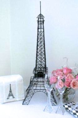 Eiffel Tower Large 28 Inch Black and Silver Wire Metal Centerpiece/Replica