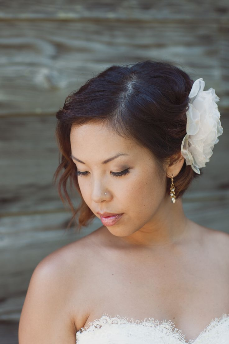 Beautiful Bride! Proof that you dont have to grow out your hair for great Bridal hair. Hair by Robin Achterberg https://www.facebook.com/ParlorHairBoutiqueVictoria www.parlorhairboutique.com #bride #hair