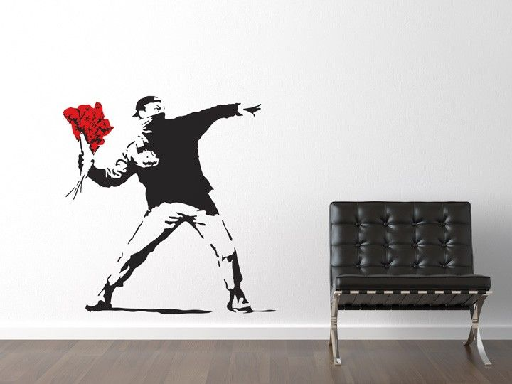 Make love not war!  This wall sticker features a rioter poised as if to throw a grenade or a brick, but the weapon has been replaced with a colourful bunch of flowers.  All of our banksy wall stickers are precision cut from our high grade low-tac self adhesive vinyl and are supplied with detailed fitting instructions and pre-applied application tape to ensure easy, fast and fault-free application of your wall stickers.