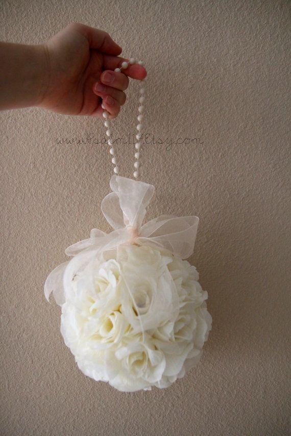 Ivory Cream 6 Inch Rose Pomander Flower Ball Kissing Pom Isle Decoration