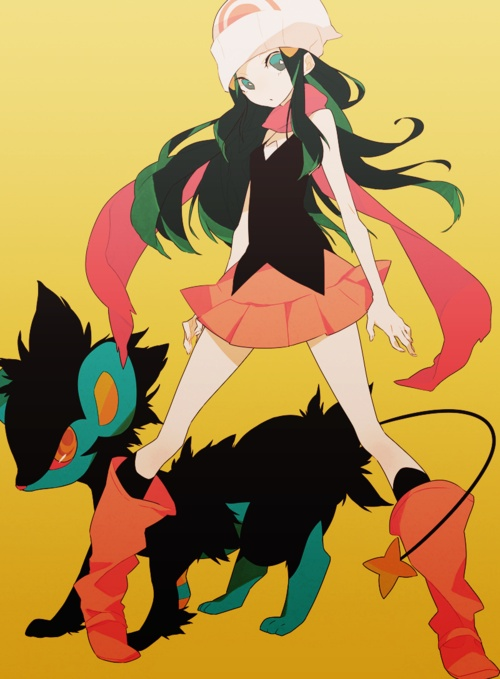Dawn and a Luxray. Actually this is me because my luxray and I were best of friends in Sinnoh. She was always by my side.
