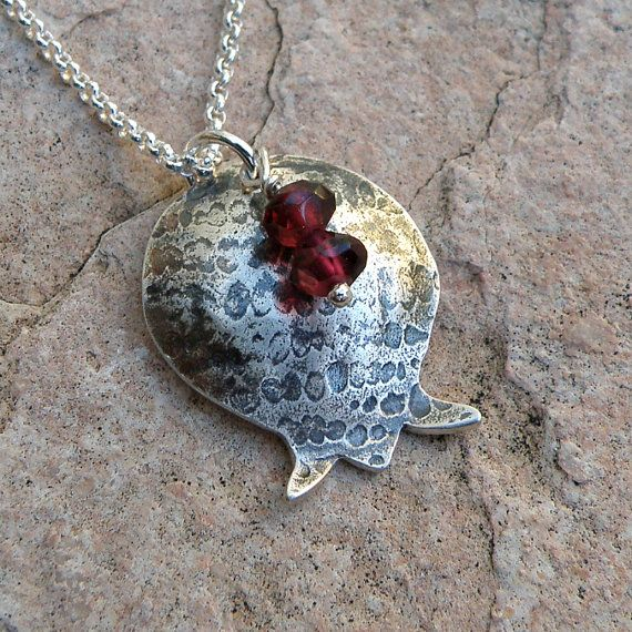 Pomegranate Sterling Silver Necklace with Garnets by EfratJewelry, $48.00