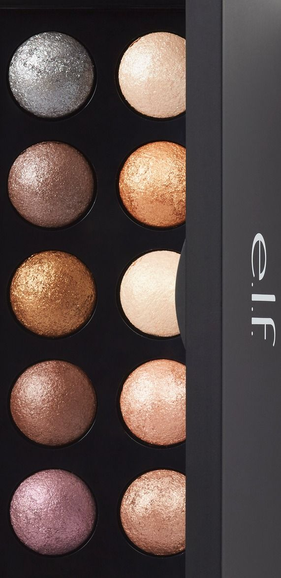 Each e.l.f. Cosmetics Baked Eyeshadow Palette features 10 gorgeous baked eyeshadows so you can achieve a flawless look whenever, wherever. The silky and blendable formula of these baked eyeshadows provide smooth and even application with each sweep of color. Baked in an oven, these eyeshadows offer rich pigmentation for a beautiful effect. Infused with active key ingredients jojoba, rose, sunflower, apricot and grape to nourish and hydrate the skin. Cruelty free and vegan.