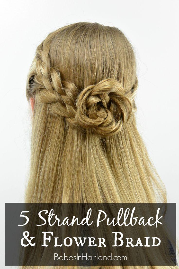 5 Strand Pullback & Flower Braid (Rosette) from BabesInHairland.com #hair…