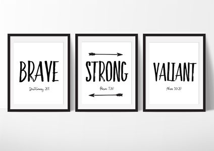 Brave Strong Valiant - Printable Scripture printable, minimalist printable, set of 3, brave, valiant, strong, Young men printable, lds boys room, lds boy printable, lds print, lds brave print, lds valiant print, lds arrow print LDS printable. Young Women Printable, Young Women handouts, LDS bulletin boards, mutual activities, Young Women binders, personal progress, Girls camp, Young Women gifts, Young Women bulletin boards, scripture printables, primary bulliten boards, primary gifts, LDS…