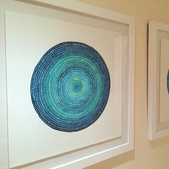 Large original modern abstract watercolour mandala by 26Seeds
