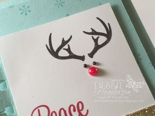 Stampin' Up! Wonderland, Spiral Border Punch and coloring Pearl Jewels with a red & black Permanent Marker. Debbie Henderson, Debbie's Designs