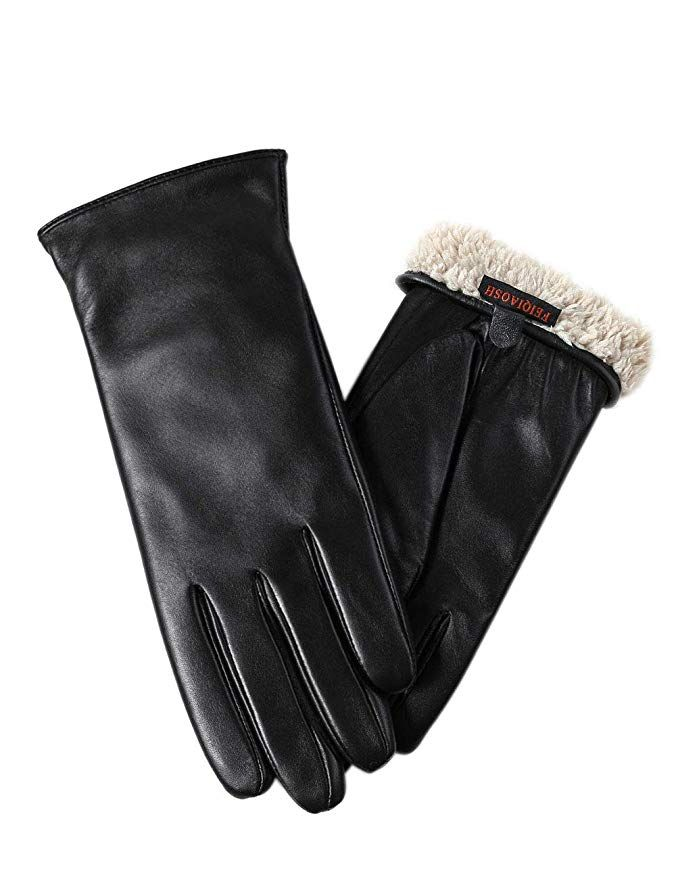 effe78d8e3b0c Warm Fleece Lining Touchscreen Texting Driving Winter Womens Leather Gloves