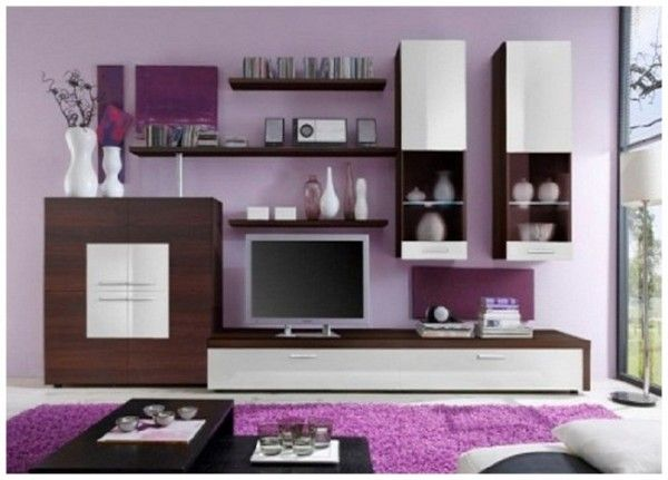 Pink Living Room Wedge Body Wall Unit Media Center Wooden Purple