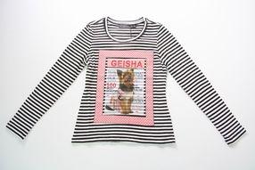 Geisha zwart/wit gestreept t-shirt met hondenprint - Chrissies Kinderkleding