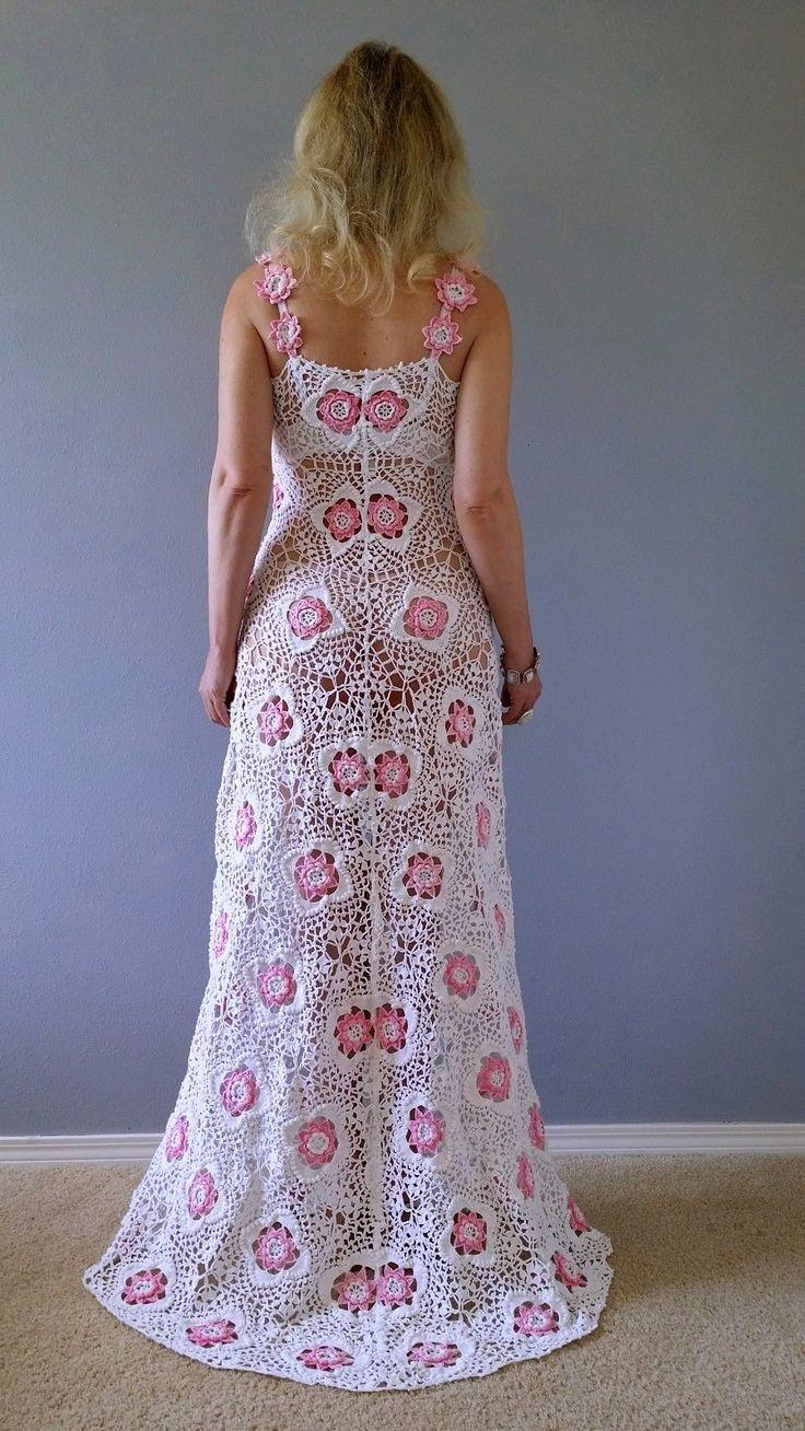 Платье крючком, вязание из мотивов #crochet_dress #crochet_motives