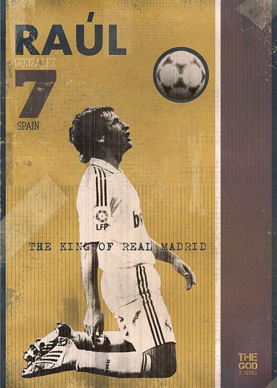 The Gods Of Football (Part I) by Marija Marković on Behance — Raúl González Blanco, #7, Spain