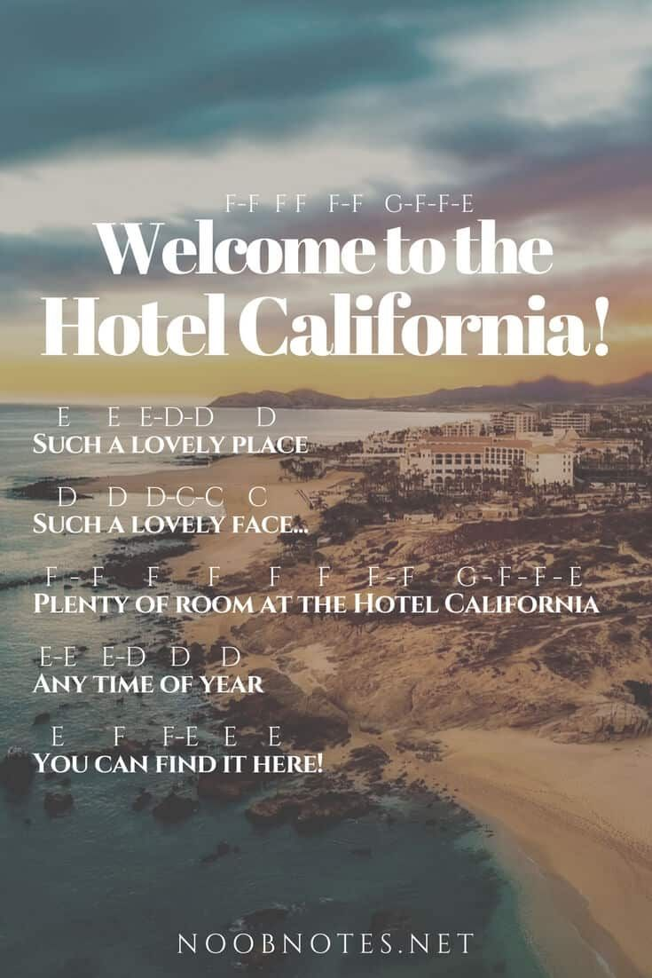 Hotel California The Eagles Music Notes For Newbies Piano Songs Piano Music With Letters Piano Sheet Music Letters