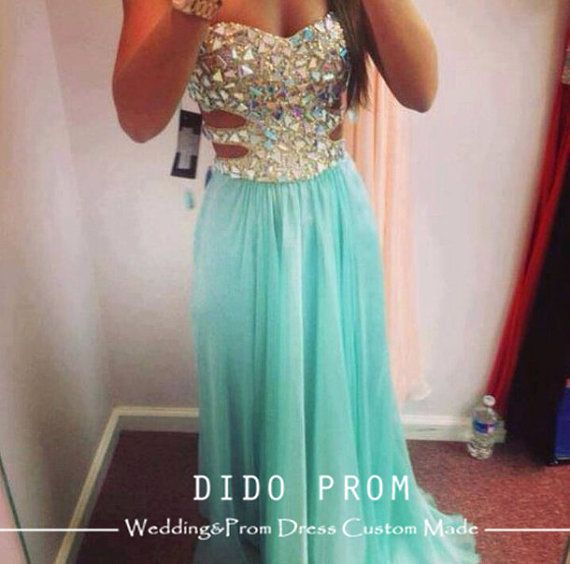 Custom Made Beaded Bodice Prom Dress,Sexy Prom Dress,Chiffon Prom Dress,Strapless Prom Dress Gown