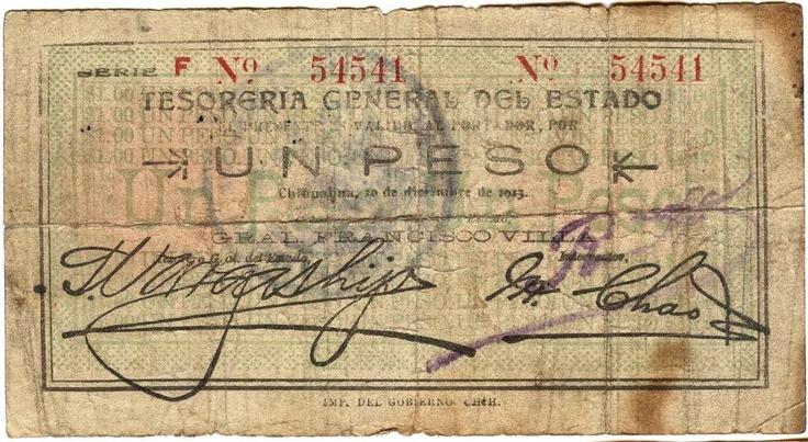 1 Peso Tesoreria General Del Estado Chihuahua
