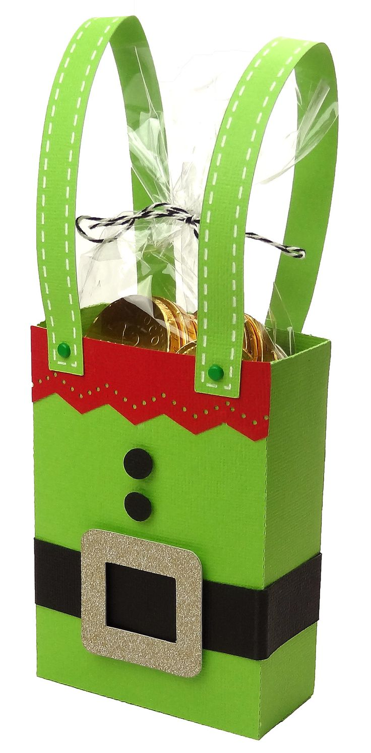 Elf Gift Bag from the Pazzles Craft Room. A cute way to package a gift card.