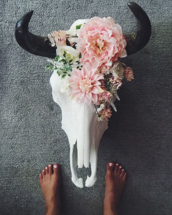 Pink Floral Decorated Cow Skull by RoseAndRoyce on Etsy                                                                                                                                                                                 More