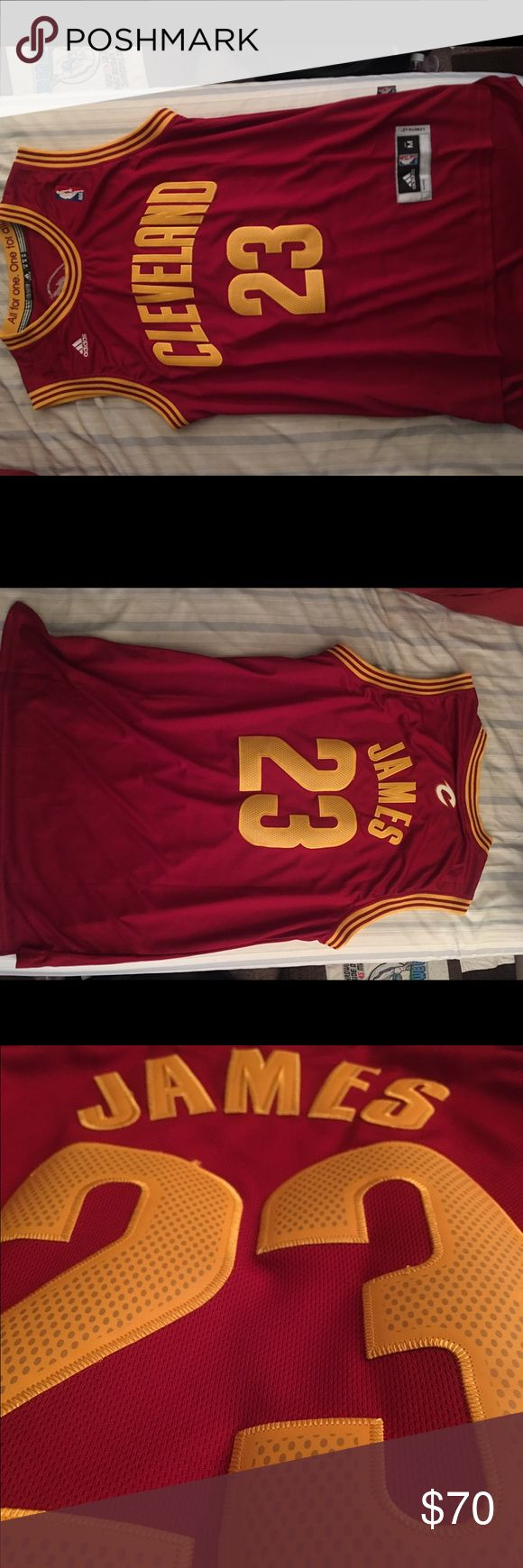 LeBron James Cleveland Cavs Jersey Worn once for a game - size medium, adidas brand, authentic.  *mens size but obviously more of a unisex jersey, fits well/true to size* Adidas Tops Muscle Tees