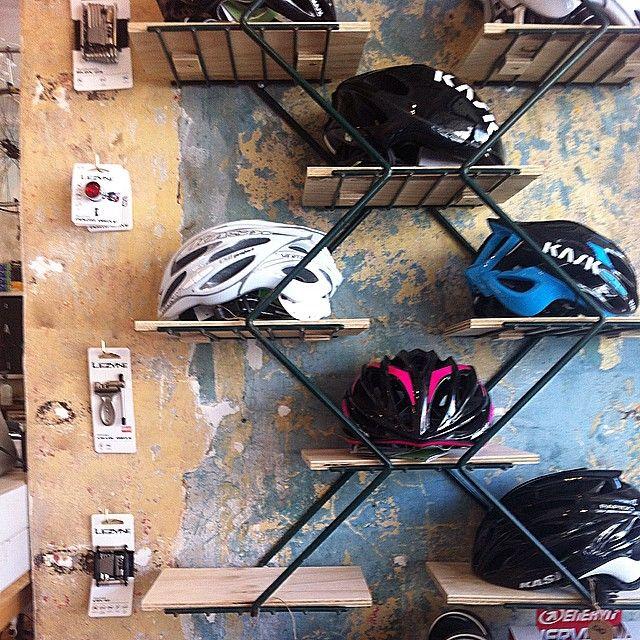 bike shop helmet display sydney
