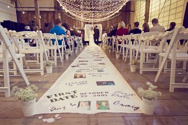 Turn your aisle runner into a visual timeline.