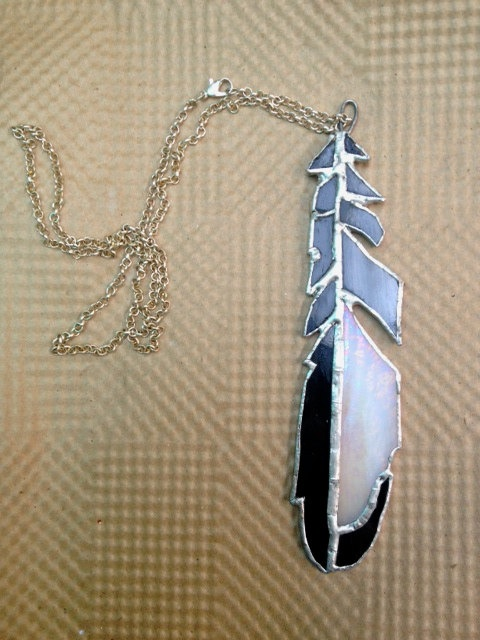 Magpie Feather Stained Glass from Emily Stained, Etsy