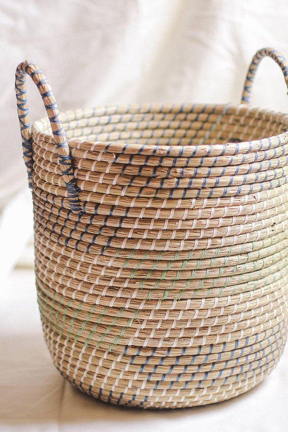 Handwoven Laundry Basket With Handle Handmade Natural Weave