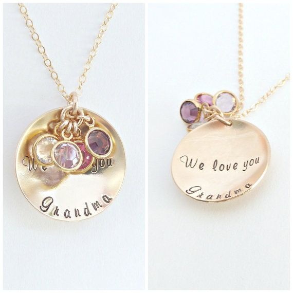 This personalized Grandma Necklace is the perfect piece for your loved one!  You can personalize the name to whatever your Grandma is called! Nana, Grammie, Meemaw...the list goes on! Put the name you would like on the disc in the notes section at check out.  Choose the number of crystals to represent children and grand children! Add the crystals in the notes section at check out. If more than 5 are needed, they will be placed on the chain, instead of the disc as to allow for as many as…