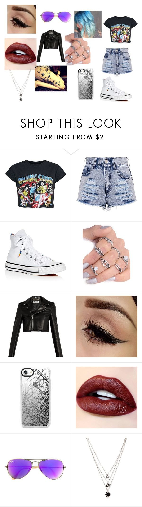 """""""Rock n Roll B****"""" by blackshadows-i on Polyvore featuring Converse, Yves Saint Laurent, Casetify, Ray-Ban, Fiori and Forever 21"""