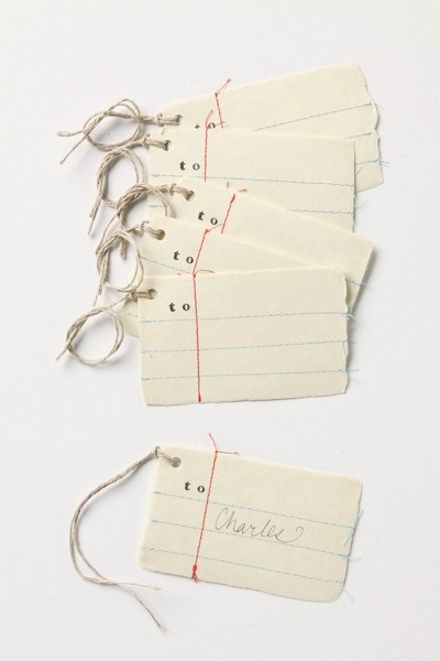 sewn note paper gift tags.