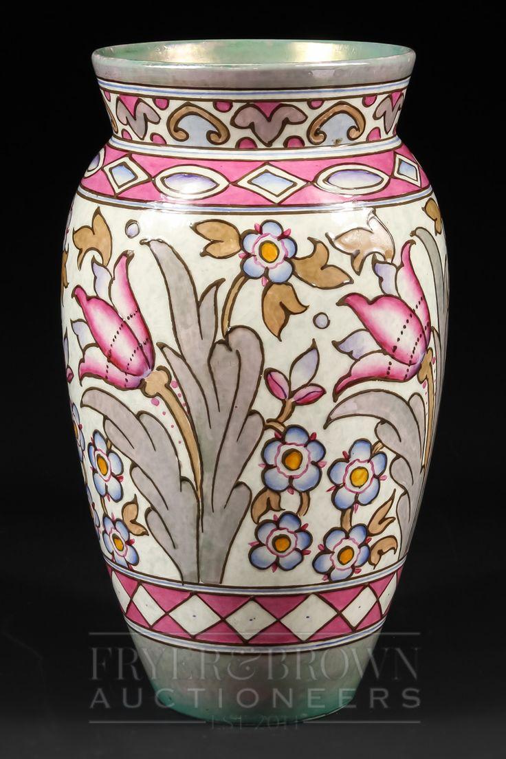 A large Bursley Ware H.J. Wood Charlotte Rhead baluster vase, Wind Tossed Tulips pattern TL76, t...
