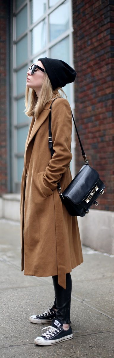 Camel coat and leather pants