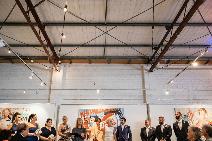 Unique venue quirky open warehouse art gallery Smart Artz industrial wedding Melbourne Australia photographer ceremony
