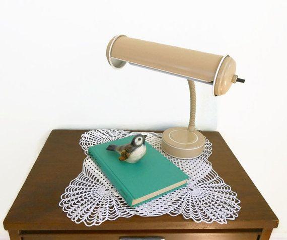Enamel Gooseneck Desk Lamp 1960's Industrial Lamp by My3LuvBugsVintage $40 #Etsy #Vintage #Mid Century #Modern #Accent Lamp # Retro