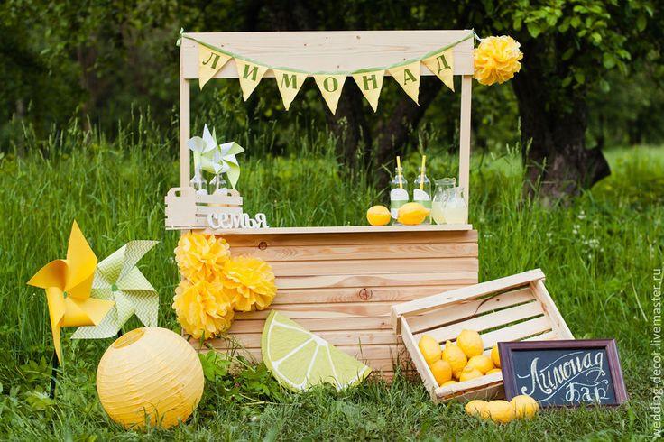 """Купить Оформление детской фотосессии """"Лимонадный бар"""" - желтый, фотозона, оформление фотозоны, оформление фотосессии"""