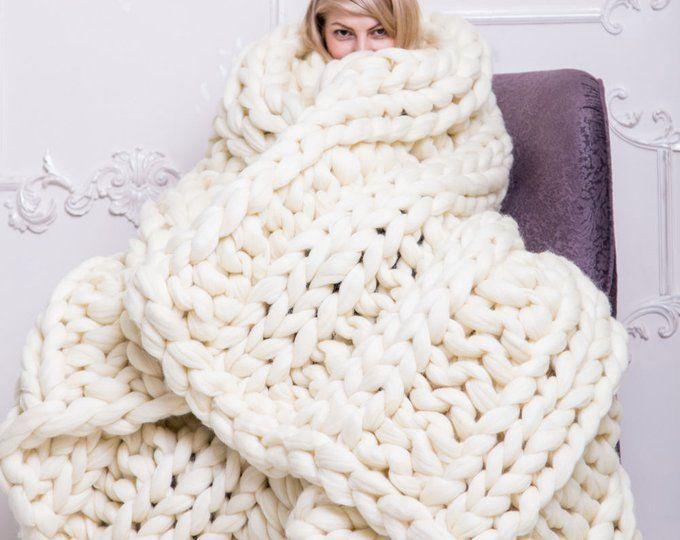 Grosse Merino Wolle Decke Chunky Stricken Decke Warme Decke