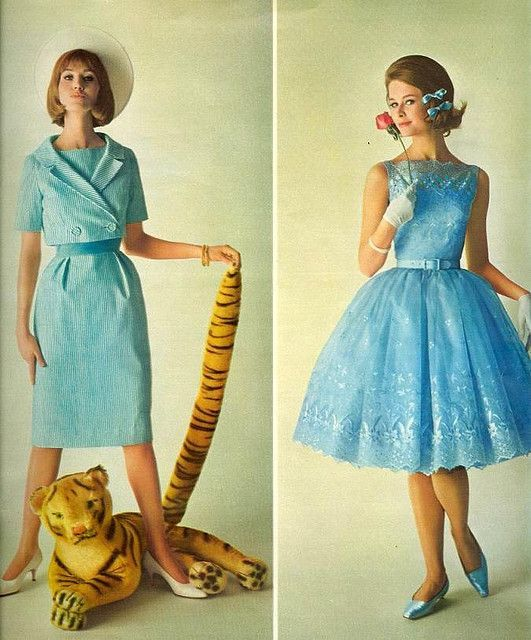 Blue dress formal 60s attire