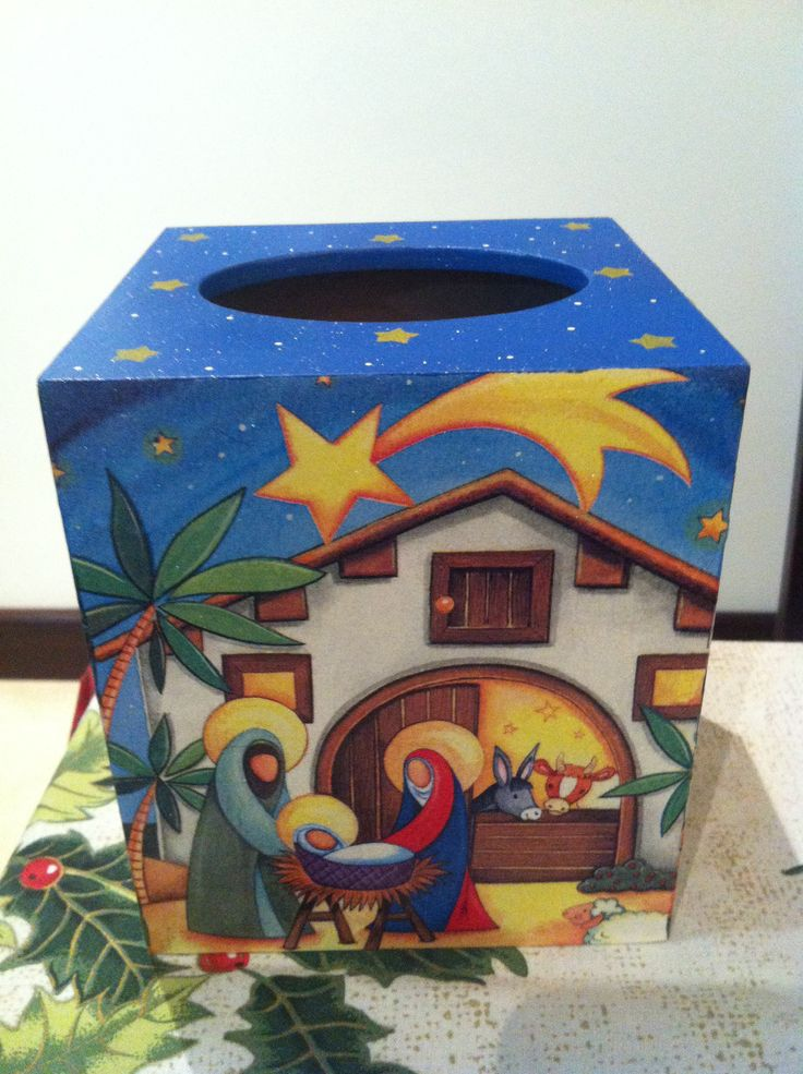 Nativity christmas box decoupage