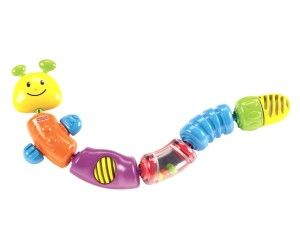 Brilliant Basics Snap-Lock Caterpillar This bright caterpillar has teethable antennae. It has parts that rattle, spin and turn in addition to great nubs for chewing.