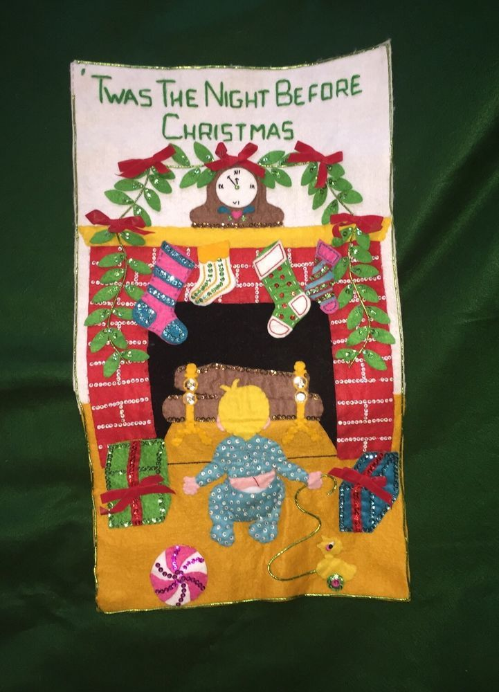 Bucilla Vtg Felt Craft Jeweled Banner Twas the Night Before Christmas Finished in Crafts, Needlecrafts & Yarn, Embroidery   eBay