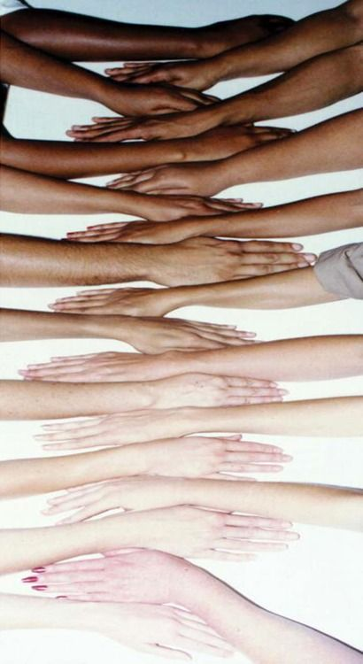 Human Colour Scale. Hating someone based on the pigment in their skin is beyond moronic. Shame on anyone who believes that other human beings are inferior!