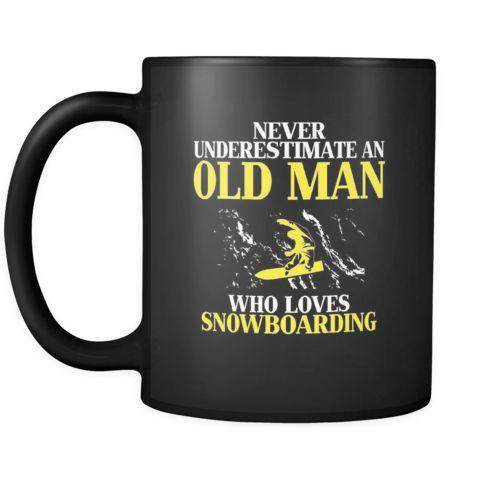 Snowboarding Never underestimate an old man who loves snowboarding 11oz Black Mug-Drinkware-Teelime | shirts-hoodies-mugs