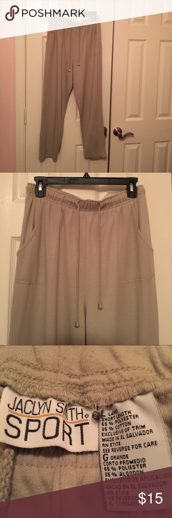 🌼🌼Ladies Pants 🌼🌼sz L/XL Preowned, great condition. Gently used. Short length. Very comfortable. Draw strings to tighten waist. 2 pockets. Does have stretch to the material. Run big. Tag says Sz Large, will also fit extra large. Casual, and wear to work. Color is lime green JACKLYN SMITH SPORT Pants Trousers